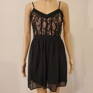 Forever 21 Black Dress with Floral Lace Bodice